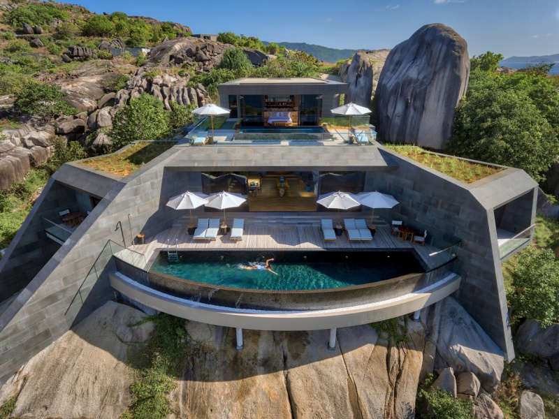 With a private swimming pool, kitchen and private wine cellar, the four-bedroom residence at Six Senses Zil Pasyon is a luxurious lockdown dream.