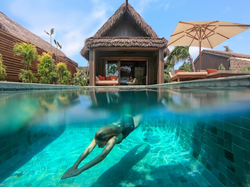 Dive into your private plunge pool or make a splash in the Pacific Ocean from your beachfront pool villa at Six Senses Fiji.