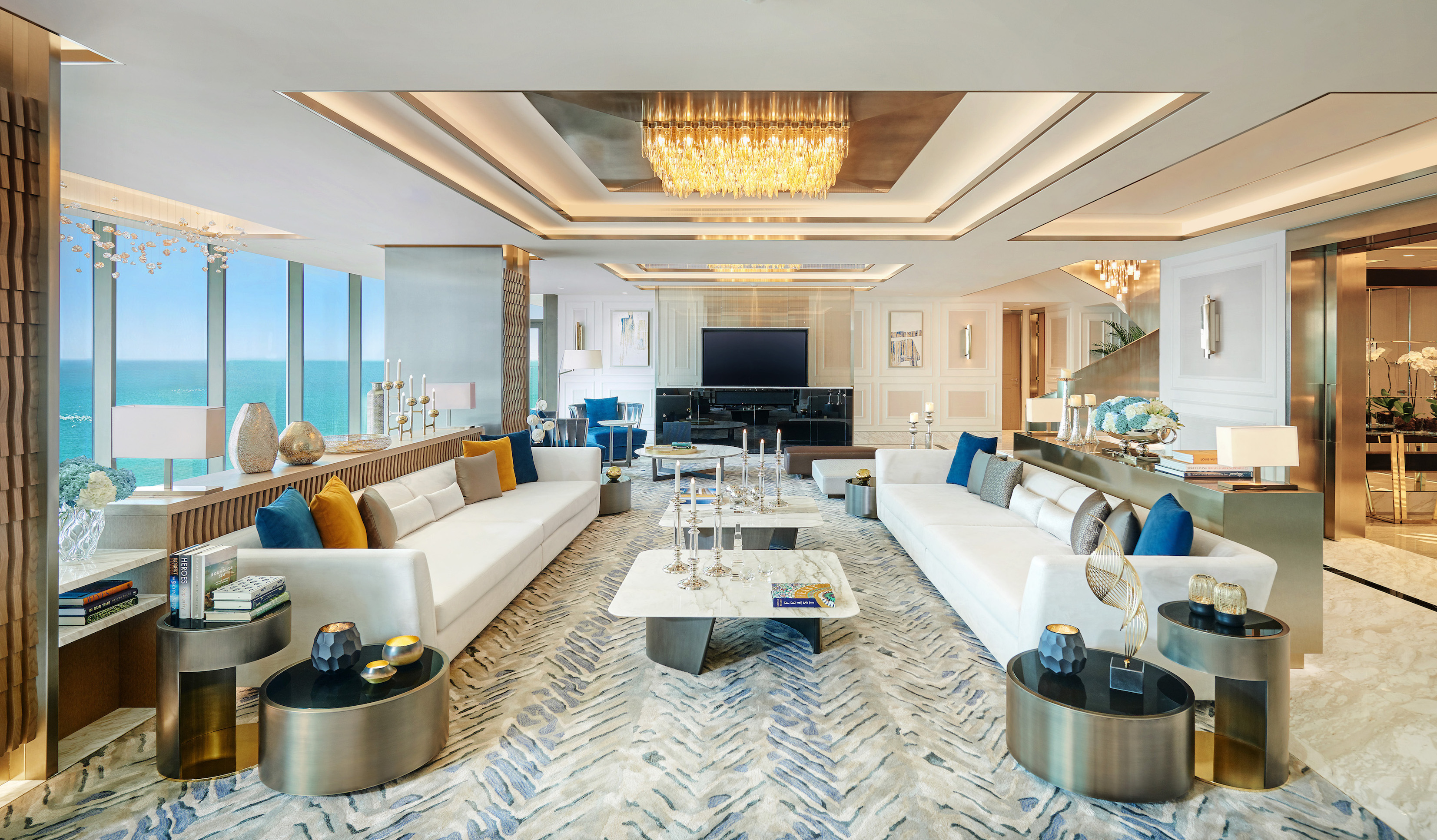 Turn the royal penthouse of the Mandarin Oriental Dubai hotel into your plush home with sweeping views of the sea, a rooftop terrace and a private gym.